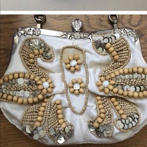 VINTAGE bead sequin purse with metal chain strap